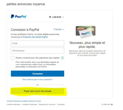Action numéro 5 Payer sans ouvrir de compte Paypal Annonce au Top Petites Annonces Voyance